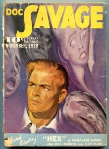 Doc Savage Pulp November 1939- Hex- Bill Barnes- Cap Fury VG
