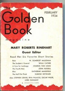 GOLDEN BOOK--FEB 1934--MARY ROBERTS RINEHART-STEPHEN CRANE--PULP FICTION