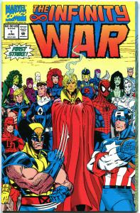INFINITY WAR #1, NM+, Wolverine, Fantastic 4, Spider-man, Thanos, 1992, Avengers