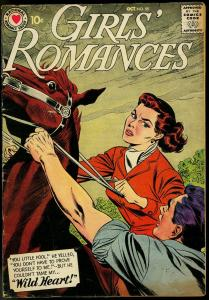 GIRLS' ROMANCES #55 1958-DC COMICS-HORSE RIDING-LOVE-DC VG