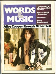 WORDS & MUSIC 04/1973-POPPY PRESS-ALICE COOPER AUTOGRAPH-vg
