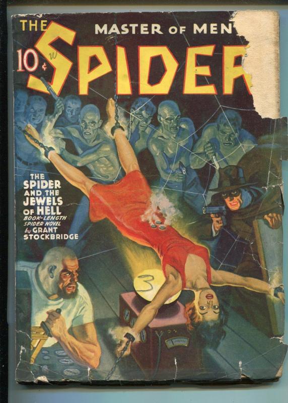 Spider 12/1940-Popular-bound babe-jewels of Hell-weird villains-G