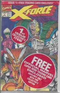 X-Force #1 (Aug 91) in sealed polybag w/ Marvel Trading Card inside - X-Men