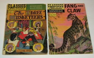 Lot/2 Classics Illustrated #1 Three Musketeers VG+ #123 Fang/Claw FN Golden Age