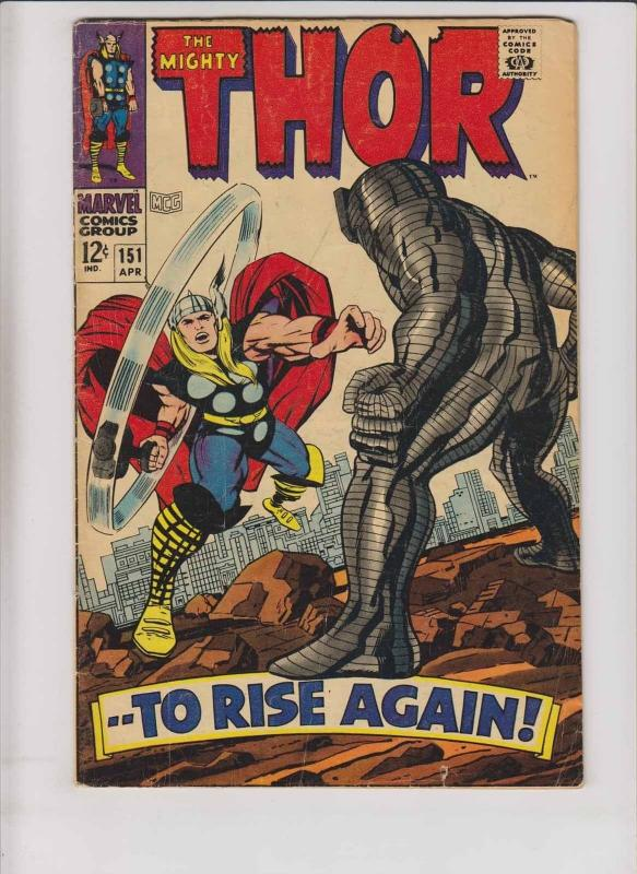 Thor #151 VG stan lee - jack kirby - destroyer - origin of the inhumans 1968