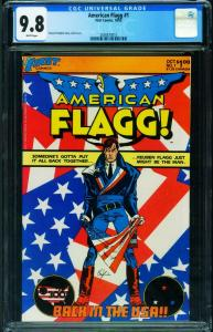 American Flagg #1 CGC 9.8 1983-Howard Chaykin-1st issue 2036873010