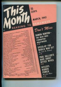 THIS MONTH #1-03/1945-EXPLOITATION-DAMON -RUNYAN-PULP THRILLS-SOUTHERN STATES-vf