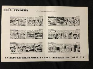 Ella Cinders Newspaper Comic Dailies Proof Sheet 11/22/54