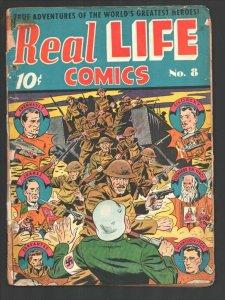 Real Life #8 1942-Commandos attack Nazi on cover-Leonardo DaVinci-Cervantes-W...
