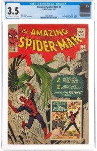The Amazing Spider-Man #2 (Marvel, 1963) CGC GRADED 3.5