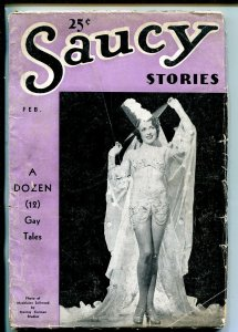 SAUCY STORIES 02/1938-PHOTO COVER-SPICY-PULP ART-vg
