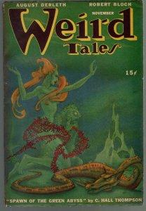 Weird Tales 11/1946-Dolgov-pulp horror & fantasy-Quinn-Bradbury-FN/VF