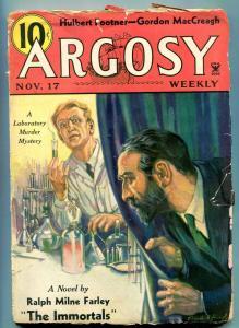 Argosy Pulp November 17 1934- Immortals- Hulbert Footner FAIR