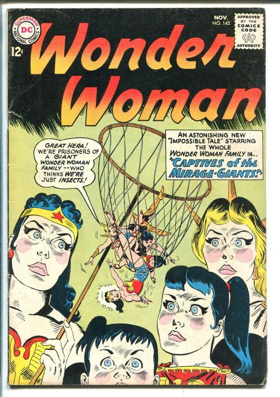 WONDER WOMAN #142 1963-DC COMICS-CLASSIC COVER-CAPTIVES-MIRAGE GIANTS-vg+