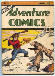 New Adventure Comics #23-1938-Creig Flessel- RARE EARLY DC-  VG with small glue