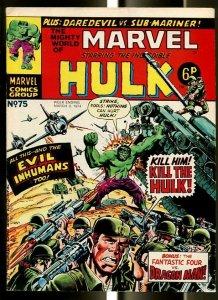 MIGHTY WORLD OF MARVEL #75 1974-HULK-FANTASTIC FOUR-DAREDEVIL-KIRBY-UK COMIC FN