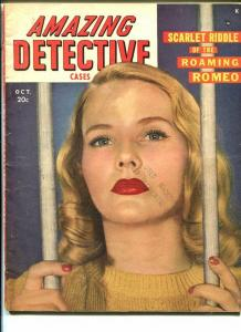 AMAZING DETECTIVE CASES-OCT 1948-VG-WOMAN IN PRISON ART-MURDER-RAPE- VG
