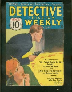 DETECTIVE FICTION WEEKLY PULP- 10/15/34-BLOODY COVER!! FN
