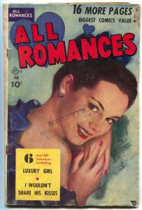 All Romances #4 1950- Luxury Girl- Golden Age- Painted cover VG