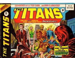 The Titans Marvel Comics UK #39 July 14, 1976 Mad Think FF Tiger Shark vs Namor