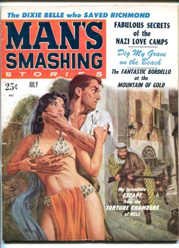 MAN'S SMASHING STORIES #2-JULY 1959-NAZI LOVE CAMPS-TORTURE CHAMBERS-fn