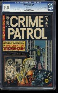Crime Patrol #15 CGC VF/NM 9.0 Crippen Copy 1st Crypt of Terror Crypt Keeper!