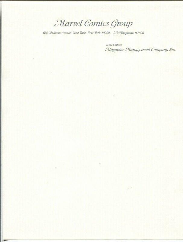 Marvel Comics Group unused Stationary 1960's/70's - comic book history!