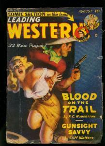 Leading Western Pulp August 1949- Tex Gordon - Wilma West- GGA- VG+