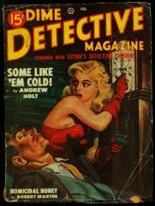 Dime Detective Pulp February 1949- Gun Moll cover- Andrew Holt G/VG