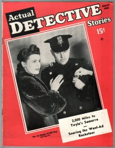 Actual Detective Stories  3-1943-violent crime-explosion-pulp thrills-FN