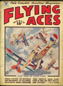 Flying Aces 3/1934-bedsheet edition-WWI aviation pulp thrills-G