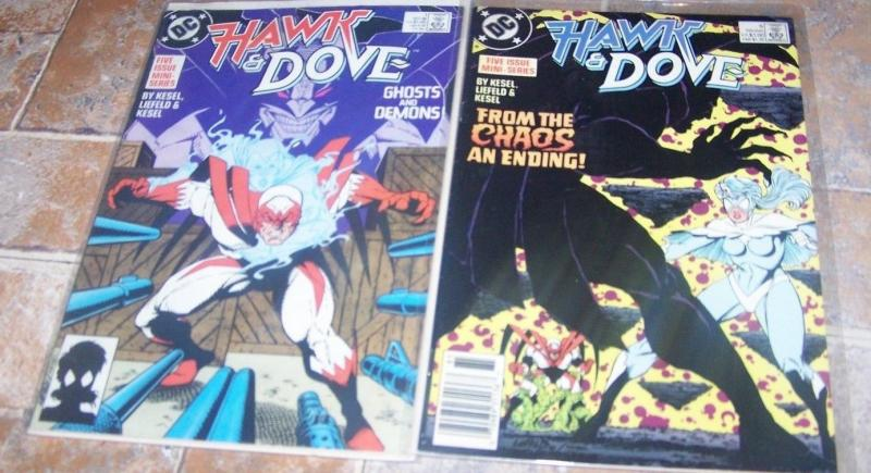HAWK & DOVE mini series # 1 & 5 rob liefeld key ist female dove