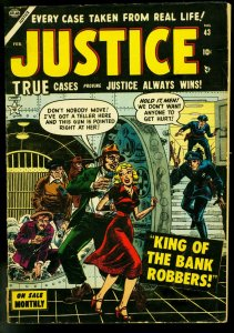 Justice #43 1954- Atlas Crime Comic- Bank Vault robbery- VG