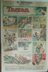 Tarzan Sunday Page #589 Burne Hogarth from 6/21/1942 in Spanish ! Full Page Size