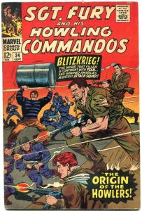 Sgt Fury #34 1966- Howling Commandos Origin issue FN+