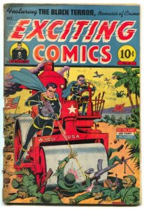 Exciting Comics #35 1944- SCHOMBURG STEAMROLLER WWII cover G-