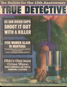True Detective 7/1965-TD-Heroin use-San Diego-violent crime pulp-G/VG