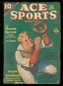 ACE SPORTS PULPS JULY 1936-BASEBALL COVER-BOXING-TENNIS VG