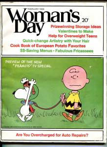 Woman's Day 2/1968- Peanuts cover & story-Charles Schulz-Snoopy-Charlie Brown-VG