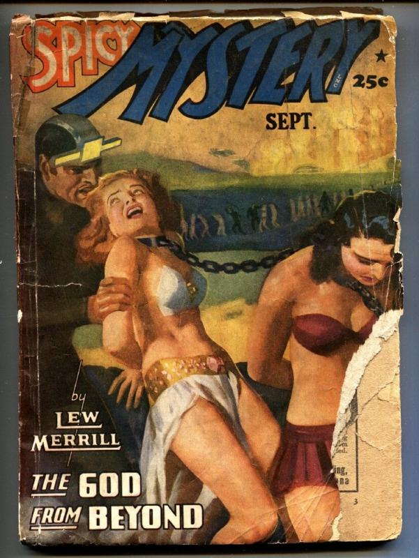 Spicy Mystery Stories September 1941-Slave girls cover-Rare Pulp Magazine