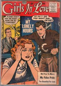 Girls In Love #52 1955-Quality-love triangle cover-False Pride-Lonely Hours-G
