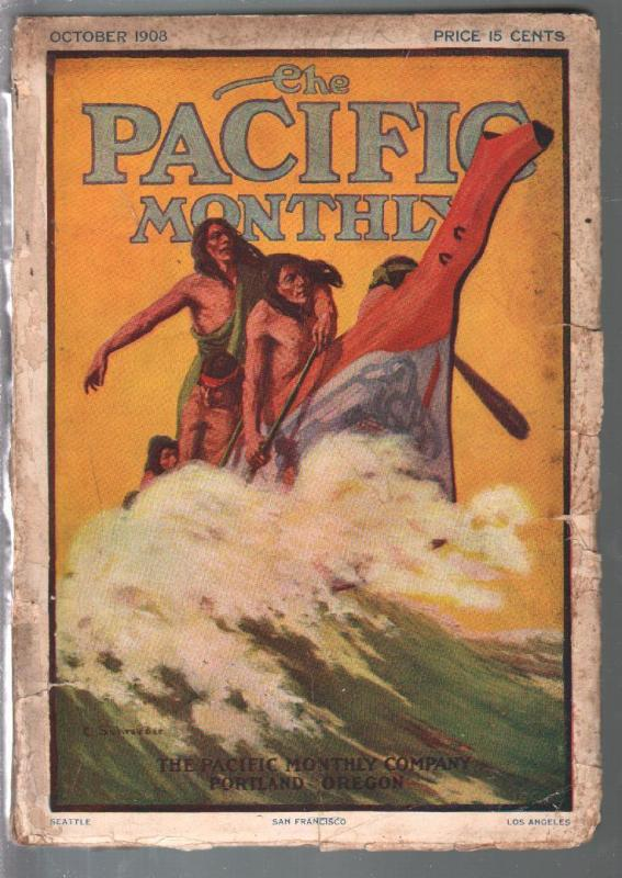 Pacific Monthly 10/1908-C Schoeder Indian cover-Jack London-pulp thrills-G/VG