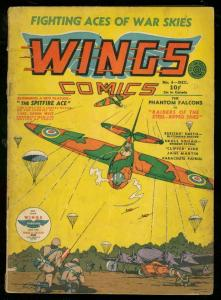 WINGS #4 1940-FICTION HOUSE-NAZI COVER-PARACHUTE PATROL VG