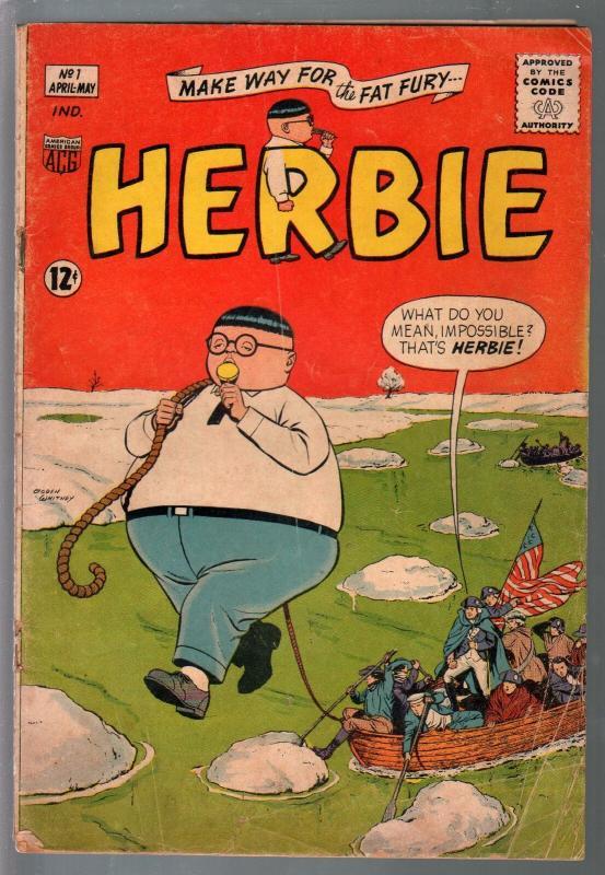 Herbie #1 1964-ACG-1st issue-Ogden Whitney-mermaid-American Flag-G/VG