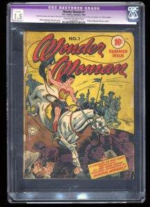 Wonder Woman #1 CGC FA/GD 1.5 Cream To Off White (Restored) Origin Retold!
