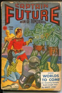 Captain Future Spring 1943-Thrilling-Sterling-robot-spicy blue skin girl-VG-