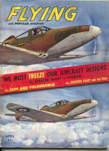 Flying 4/1942-Ziff-Davis-WWII era-aircraft pix & info-Harry S Truman article-VG
