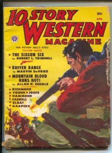 10 Story Western 4/1951-Norman Saunders gunfight cover-Western pulp-glossy co...