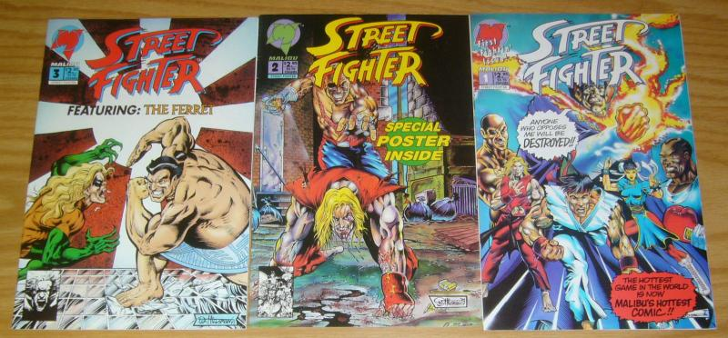 Street Fighter #1-3 VF complete series based on the capcom video game MALIBU