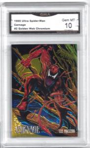 1995 Ultra Spider-Man Carnage #2 Golden Web Chromium Lee Macleod - Graded 10